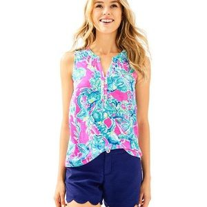 Lilly Pulitzer raz berry lobsters Essie top SZ xl